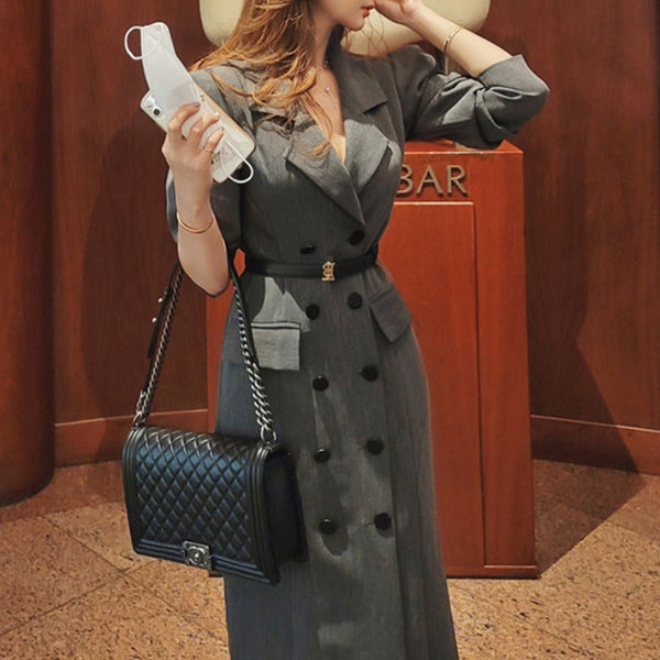 Double breast puff sleeve long blazer coat