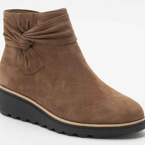 Suede solid bowknot stylish winter ankle boots