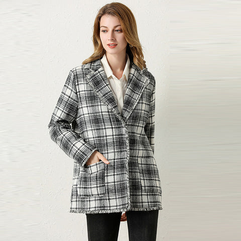 Lapel plaid british style blazers