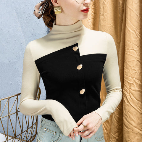 Turtleneck color block patchwork tops