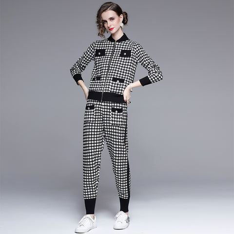 Crew neck plaid british style winter suits