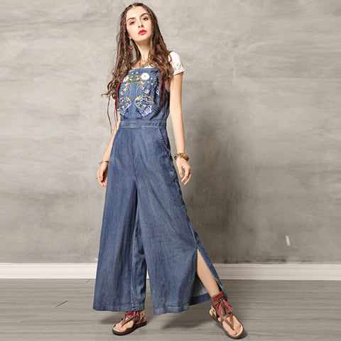 Embroidered slit wide leg Jumpsuits - Fancyever