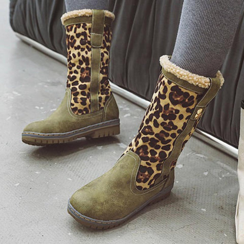 Patchwork leopard winter boots