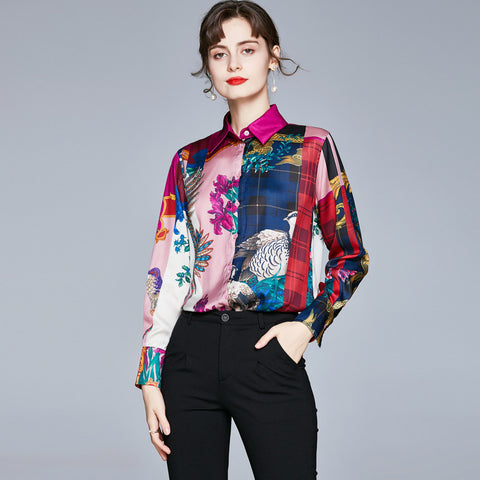 Turn down collar printed floral vintage blouses