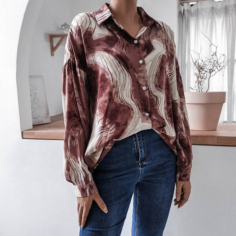 Turn-down collar loose tie-dye blouses
