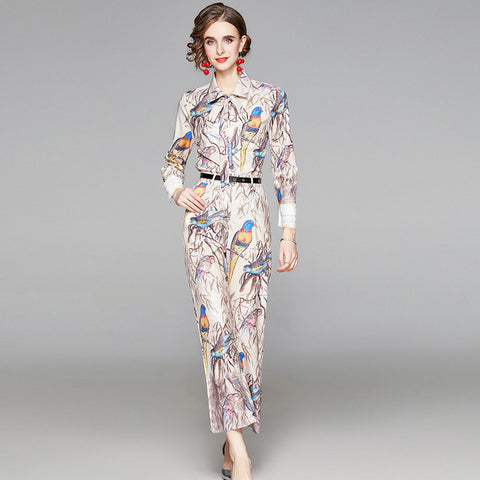 Turn down collar printed floral with front tie spring suits