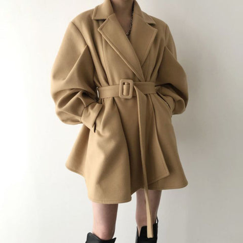 Lapel puff sleeve british style solid belted coats