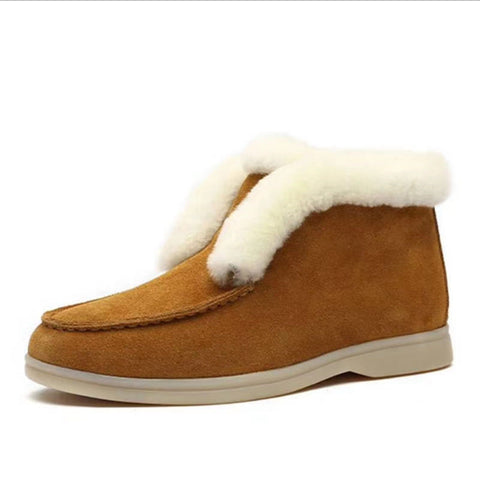 Rounded suede solid brief fur snow boots