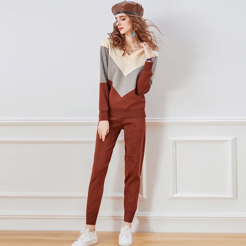 V neck color blocking fitted winter suits