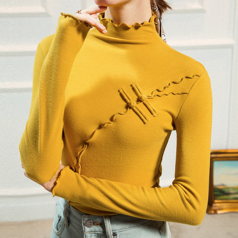 Turtleneck solid soft ruffled knit tops