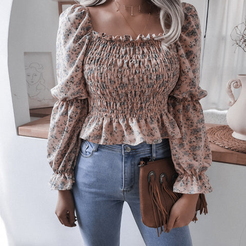 Square neck long sleeve floral cropped tops