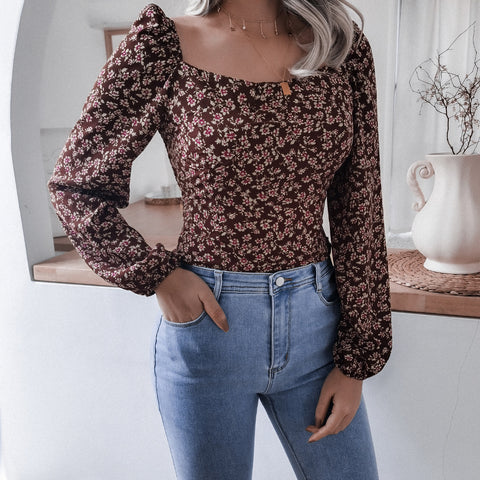 Square neck chiffon print crop tops