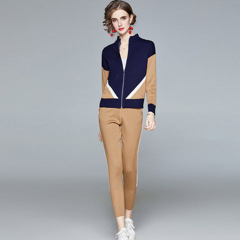 Mock neck solid color blocking fitted winter suits