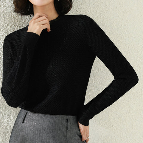 Mesh patchwork pullover knitted tops