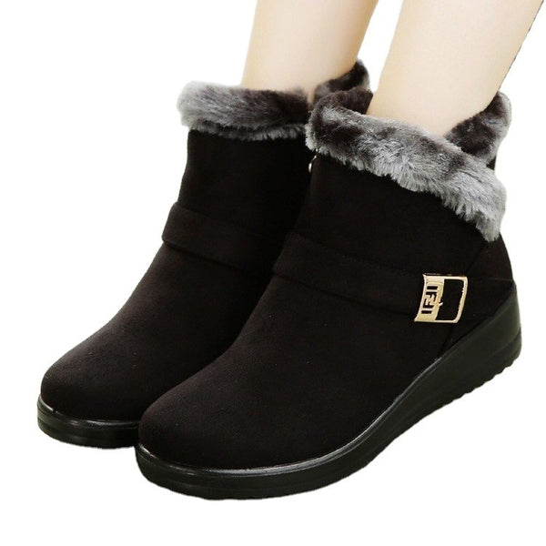 Solid short plush patchwork short boots