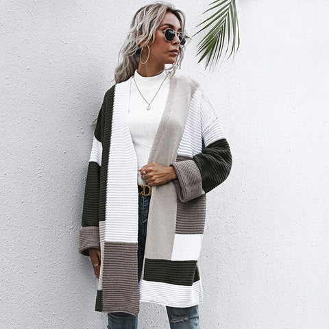 V-neck patchwork loose long cardigans