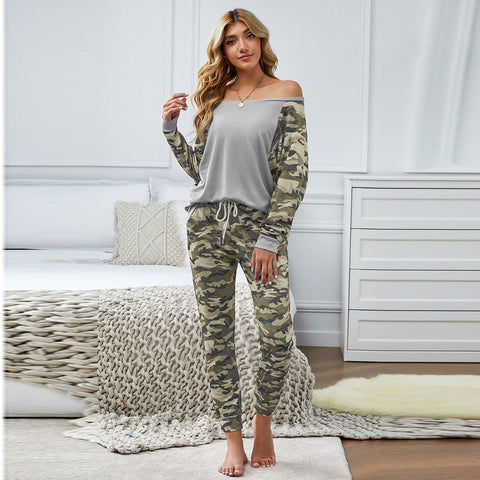 Long sleeve print patchwork pant suits