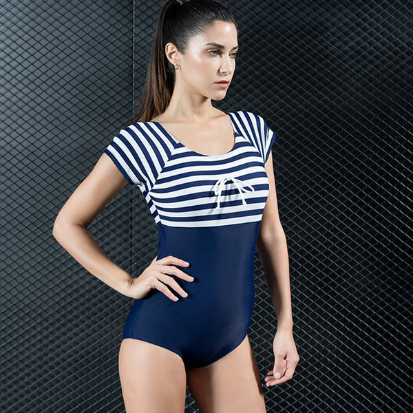 Striped bowknot slim swimsuits