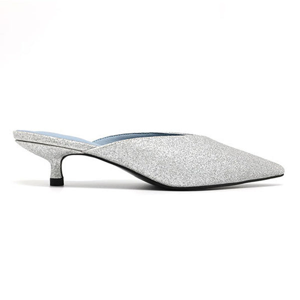 Sliver pointed low heel slippers