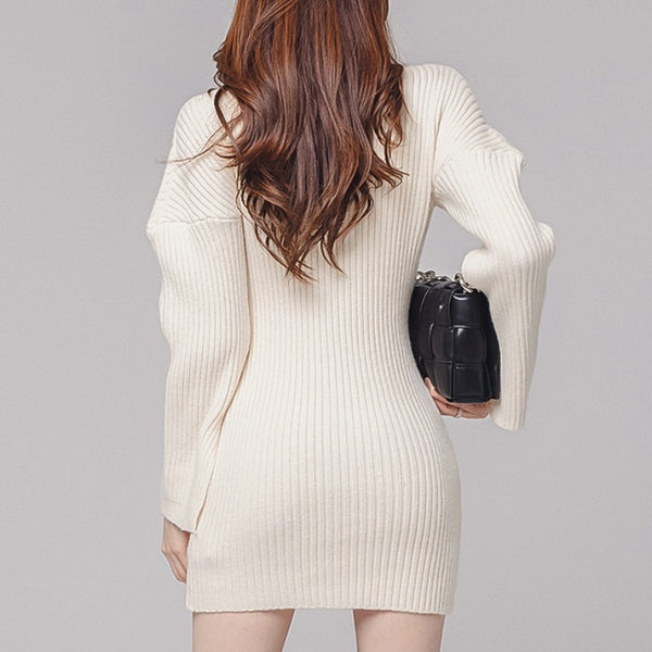Brief boat neck stretchy knitted bodycon dresses