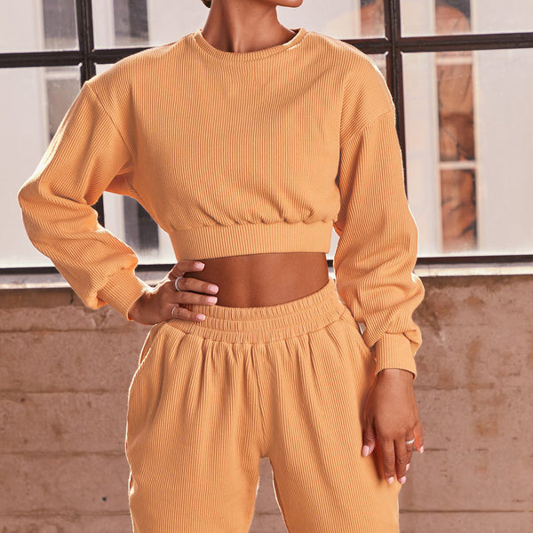 Casual crew neck cropped tops & harem pants