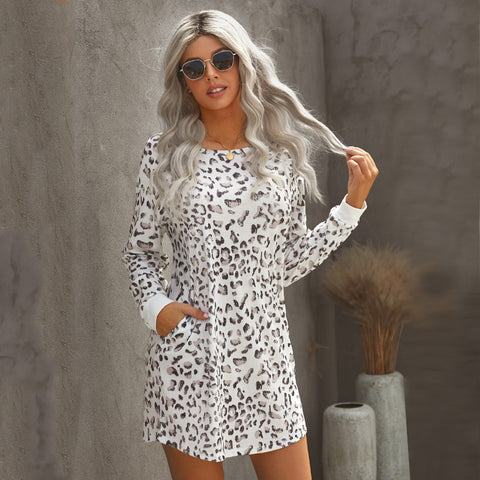 Leopard long sleeve t-shirt dresses