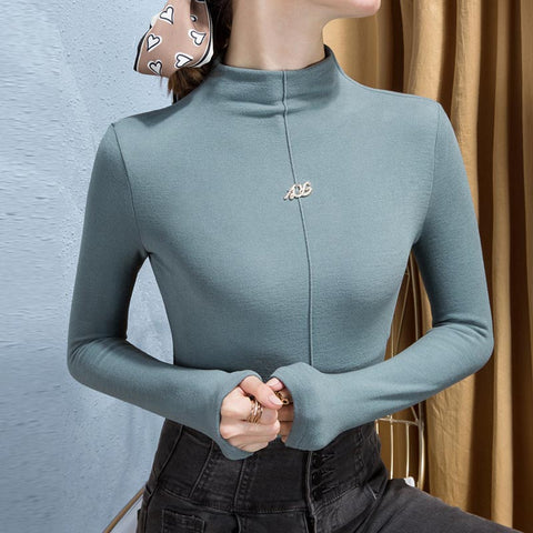 Half-collar solid soft knit tops