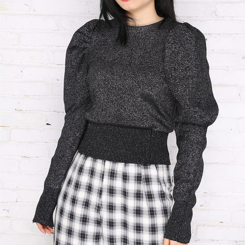 Puff sleeve pullover cropped tops