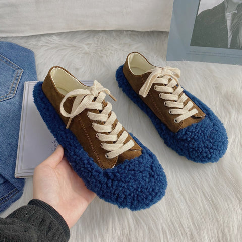 Rounded color-blocked lace-up fur sneakers