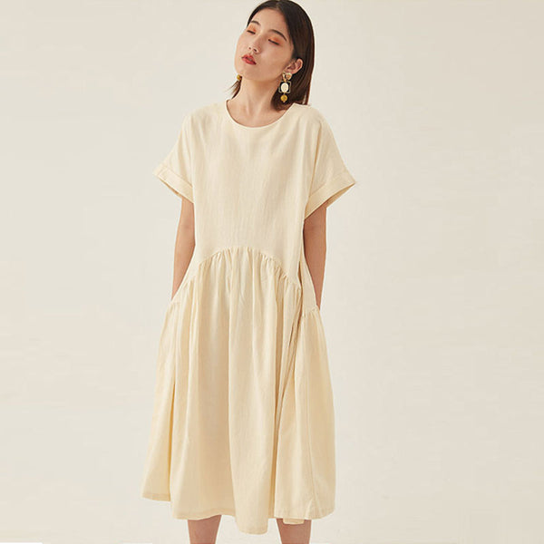 Crew neck big hem loose dresses - Fancyever