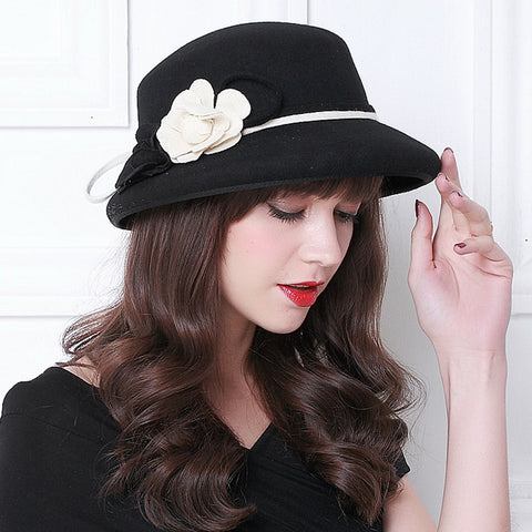 Flower bowler trilby hats