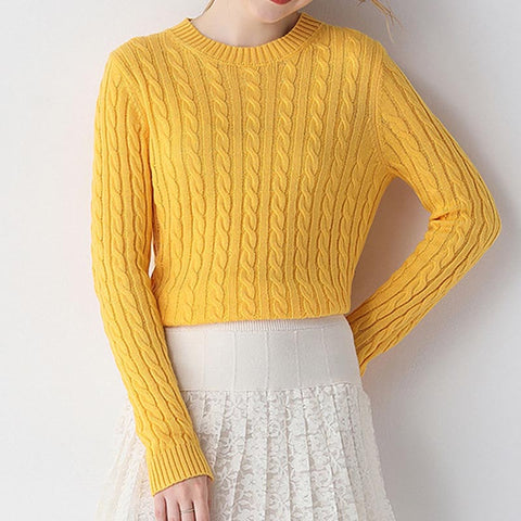 Crew neck solid stretchy soft knit tops