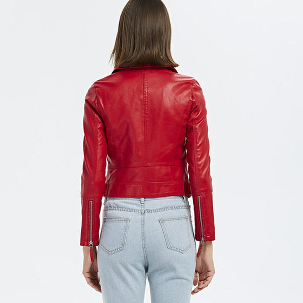 Turn-down collar faux leather jackets