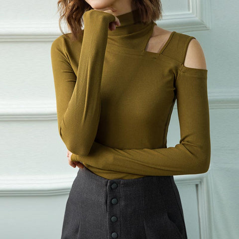 Half-collar open shoulder solid tight knit tops
