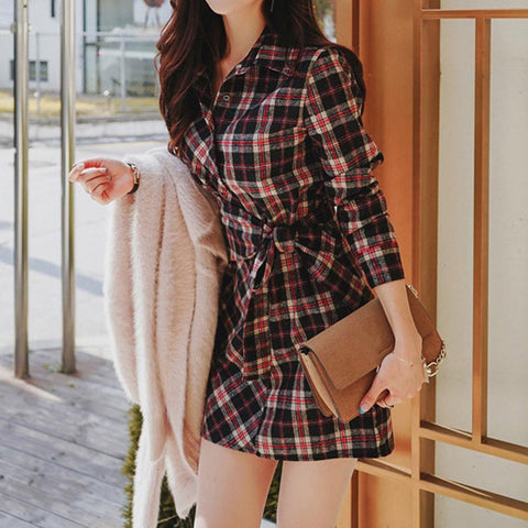 Plaid chic belted mini shift dresses