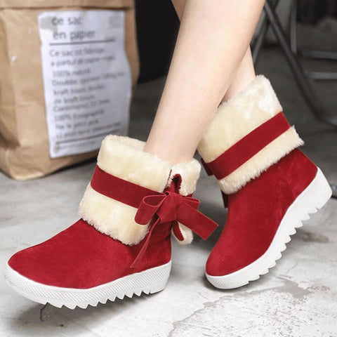 Suede solid bowknot fur winter boots
