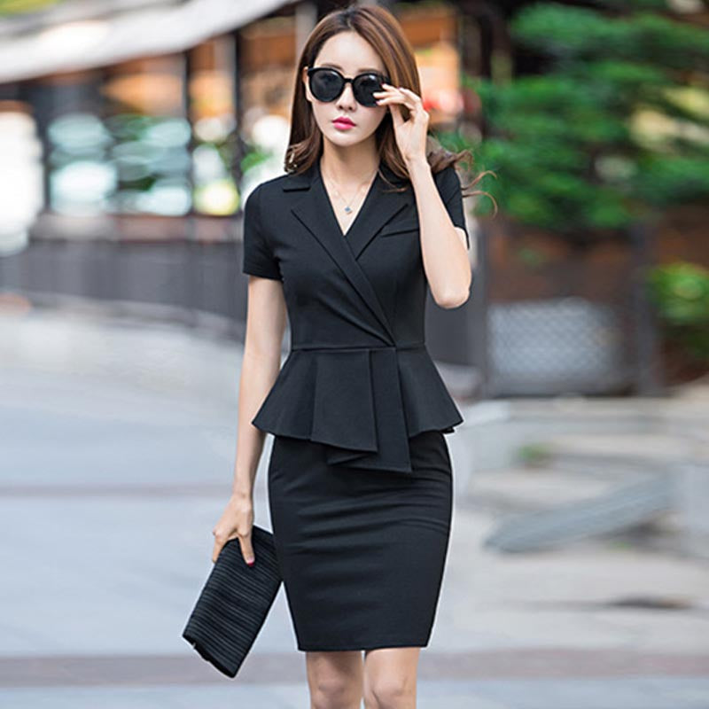 V-neck short sleeve bodycon dresses - Fancyever