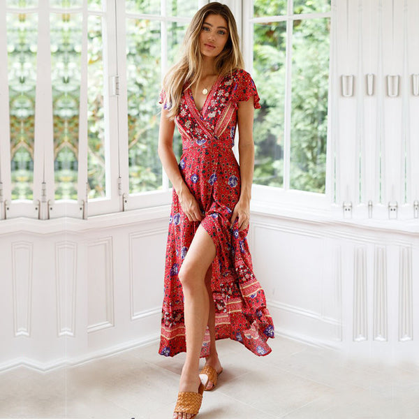 Bohemia print gathered waist slit maxi dresses