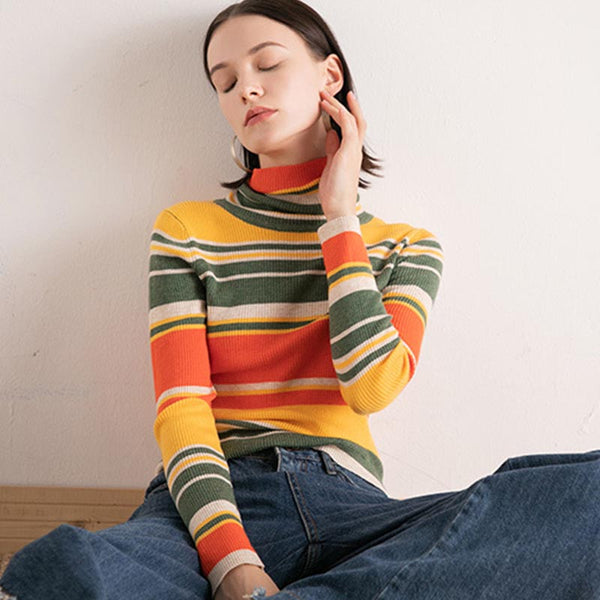 Striped turtleneck knitted sweaters - Fancyever
