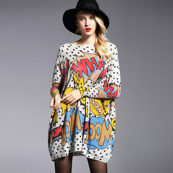 Print bat sleeve loose sweaters - Fancyever