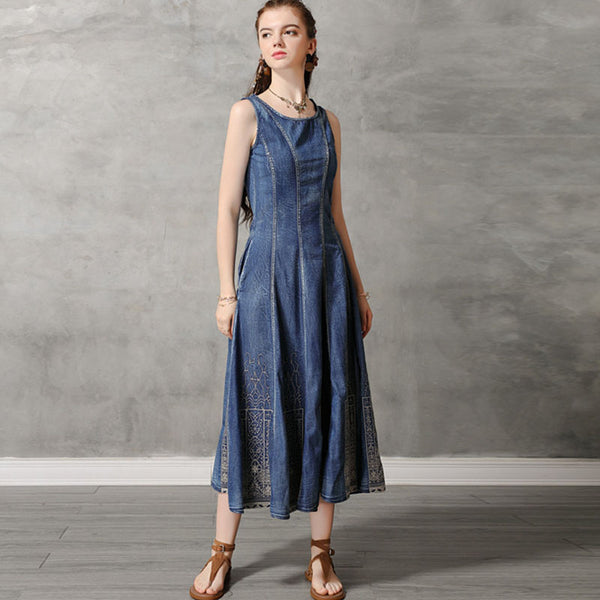 Retro openwork embroidered sleeveless big hem denim dresses