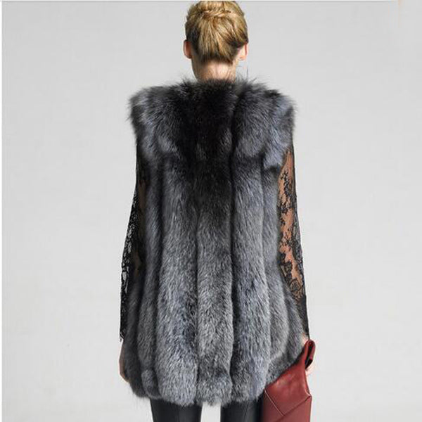 Open front textured faux fur vests - Fancyever