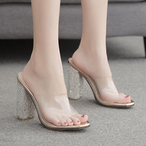 Transparent rhinestone high heel slippers