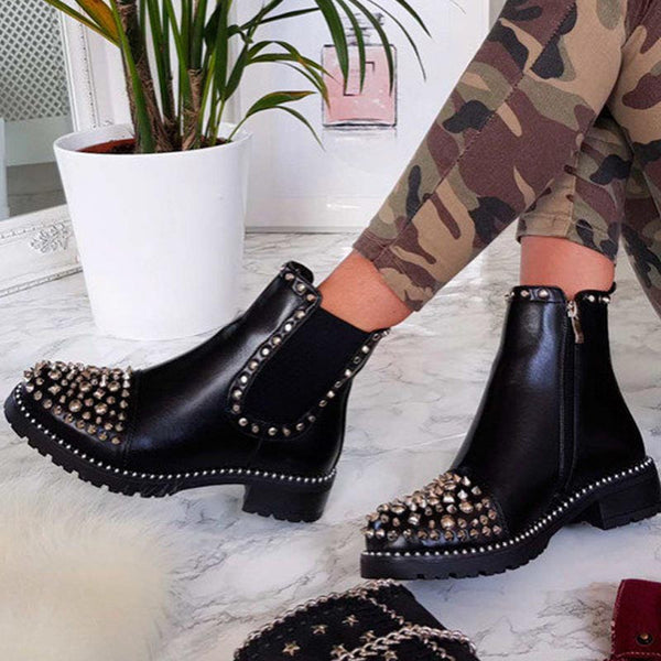 Vintage rivet PU leather ankle boots
