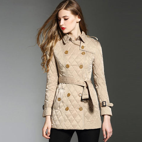 Diamond belted double-breasted quilted coats