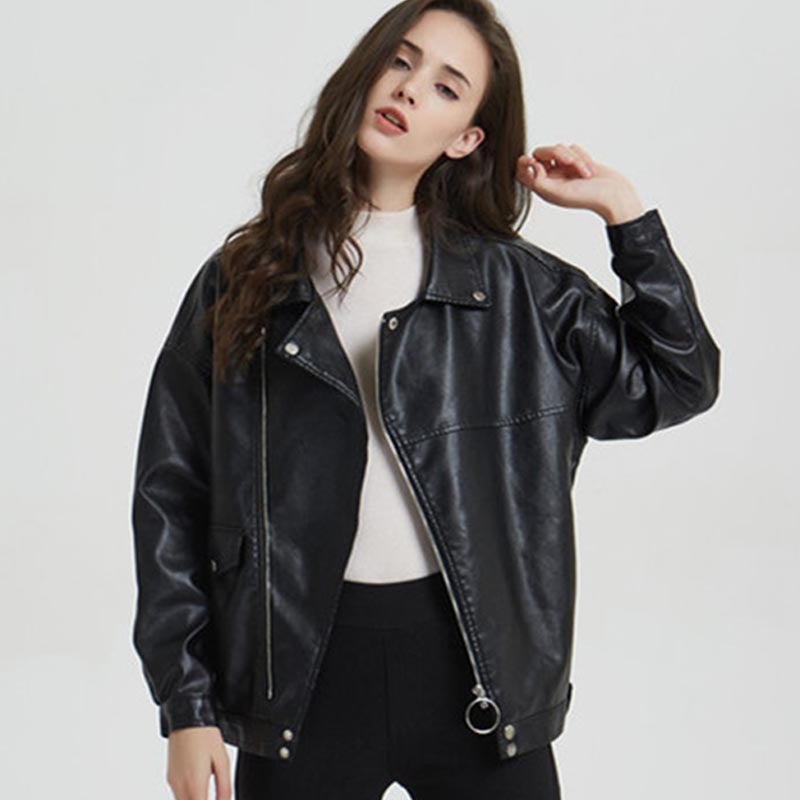 Bat sleeve faux leather jackets - Fancyever