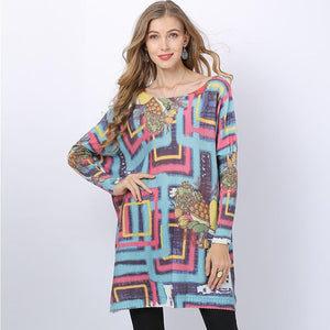 Plus size geometric print loose sweaters - Fancyever
