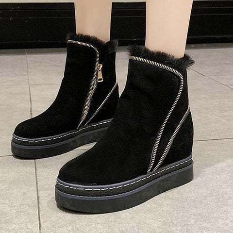 Solid rounded versatile thick fur winter boots