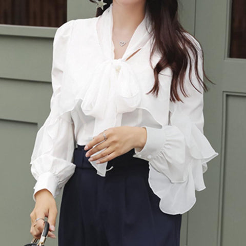 Chiffon solid with front tie bowknot blouses