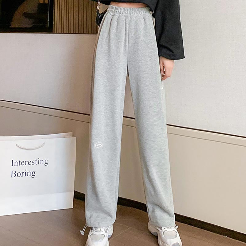 High waist solid thick straight pants